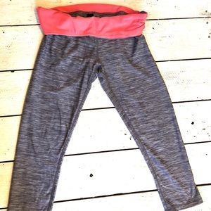 RBX Athletic Capris with Pink Foldover Waistband